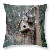 Winter's Empty Nest Throw Pillow