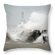 Winters Fury In Port Throw Pillow