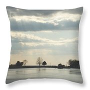 Winter's Light At South Harbor Throw Pillow
