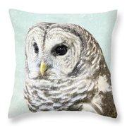 Winters Owl, Barred Hoot Owl Winter Snow Falling Throw Pillow