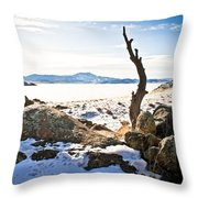 Winter's Silence - Pathfinder Reservoir - Wyoming Throw Pillow