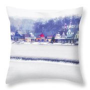 Wintertime At The Fairmount Dam And Boathouse Row Throw Pillow