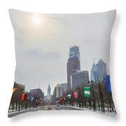 Wintertime - Benjamin Franklin Parkway Throw Pillow