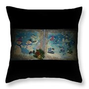 Wintertime Fun With Friends Throw Pillow