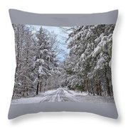 Wintery Country Road Throw Pillow