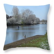 Wintry River At Stapenhill Throw Pillow