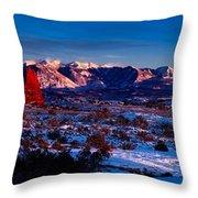 Wintry Sunset Glow  Throw Pillow