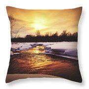 Wintry Sunset Reflections Throw Pillow