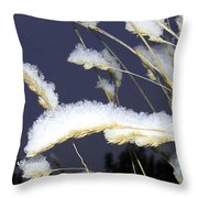 Wintry Wild Oats Throw Pillow
