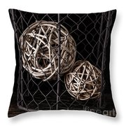 Wire Basket And Balls Still Life Throw Pillow