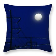 Wired Moon Throw Pillow