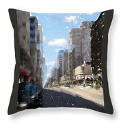 Wisconsin Ave Cubist Throw Pillow