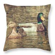 Wisconsin Ducks Throw Pillow