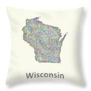 Wisconsin Line Art Map Throw Pillow