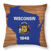 Wisconsin Rustic Map On Wood Throw Pillow