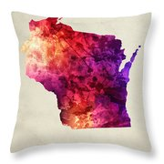 Wisconsin State Map 05 Throw Pillow