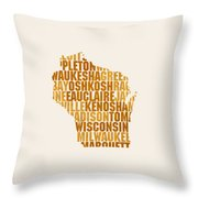 Wisconsin State Outline Word Map Throw Pillow