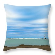 Wisconsin Winter Lakefront Throw Pillow by Steven Santamour