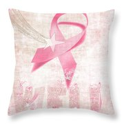 Wishing Well Breast Cancer Throw Pillow by Laura Brightwood