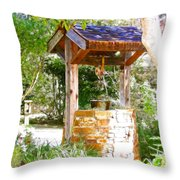 Wishing Well Cambria Pines Lodge Throw Pillow by Arline Wagner
