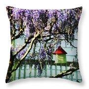 Wisteria And Birdhouse Throw Pillow