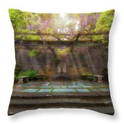 Wisteria Blooming On Trellis At Garden Patio Throw Pillow