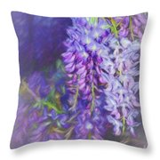 Wisteria Elegance By Kaye Menner Throw Pillow