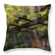 Wisteria Flowers Blooming On Trellis Over Water Fountain Throw Pillow