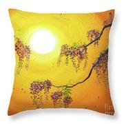 Wisteria In Golden Glow Throw Pillow
