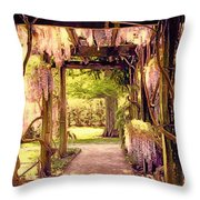 Wisteria In Watercolor Throw Pillow