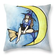 Witch And Moon Throw Pillow