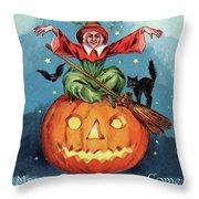 Witch In A Big Pumpkin Throw Pillow