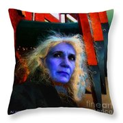 Witch On The Run Throw Pillow