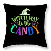 Witch Way To The Candy Halloween Funny Humor Colorful Throw Pillow