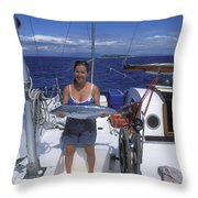 With A Spanish Mackerel Walu Caught Throw Pillow