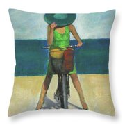 With Bike On The Beach Throw Pillow