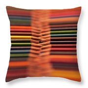 With Design Elements In Rows Throw Pillow