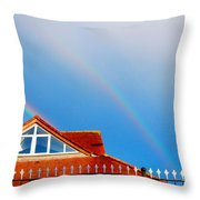 With Double Bless Of Rainbow Throw Pillow by Jenny Rainbow