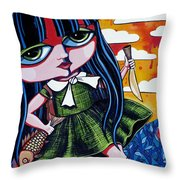 With Fish And Gold Coin Throw Pillow
