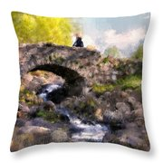 With Flowers In Her Hair Throw Pillow