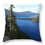 Wizard Island On Crater Lake Throw Pillow