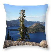Wizard Island With Rock Fence At Crater Lake Throw Pillow