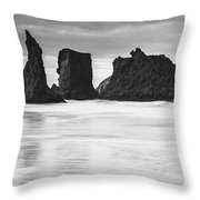 Wizard's Hat Sea Stack - Black And White Throw Pillow