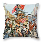 W.j. Bryan Cartoon, 1896 Throw Pillow