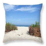 Wladyslawowo White Sand Beach At Baltic Sea Throw Pillow