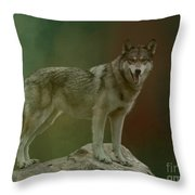 Wolf 0n Look-out Throw Pillow