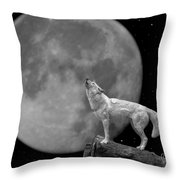 Wolf And Moon Throw Pillow
