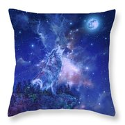 Wolf And Sky Blue 2 Throw Pillow