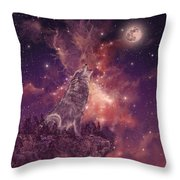 Wolf And Sky Red Throw Pillow