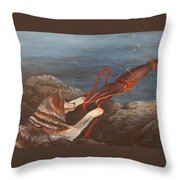 Wolf And Squid Throw Pillow